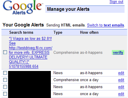 Google Used For Spam Robert Accettura S Fun With Wordage