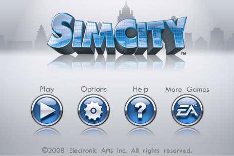 SimCity For iPhone Main Menu