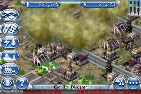 SimCity For iPhone Toxic Cloud