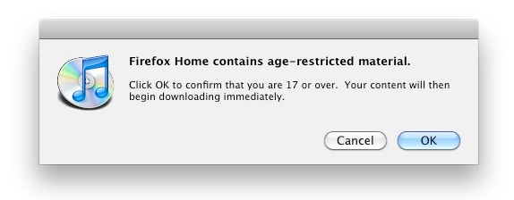 iTunes Firefox Warning Dialog