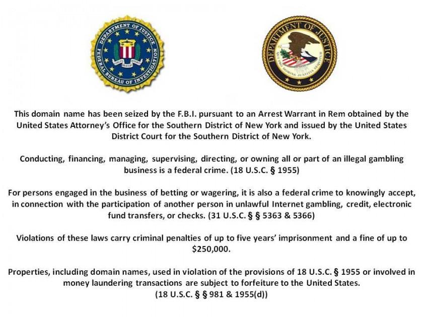 FBI/DOJ Take Down Notice for pokerstars.com