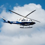 A close up of N414PD, a Bell 412E.