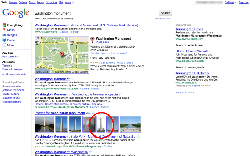 Washington Monument Search Results