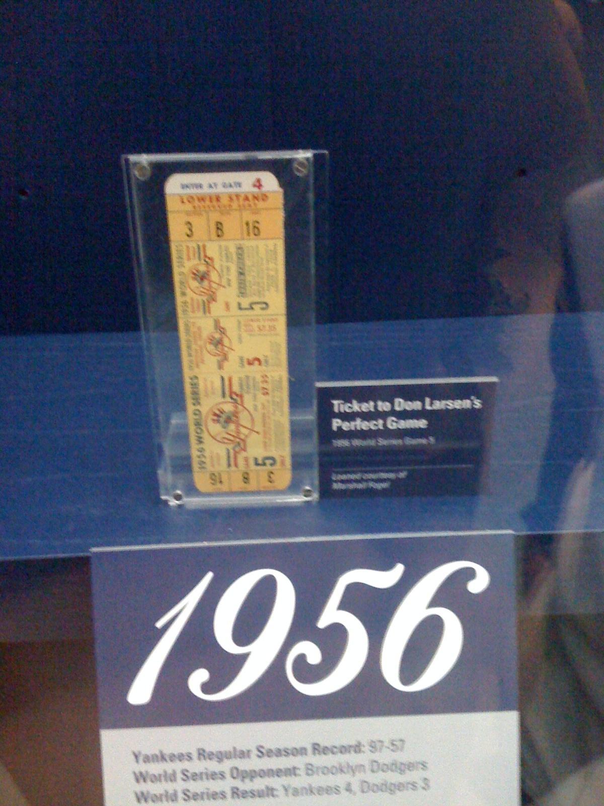 1956 Don Larsen Perfect Game Ticket