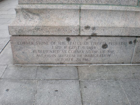 The corner stone for the Statue Of Liberty