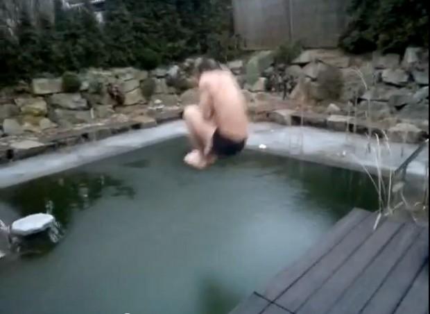 Guy Jumps In Frozen Pool