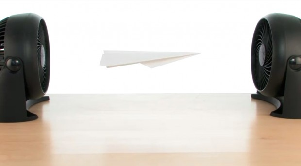 Hovering Paper Airplane Between Fans