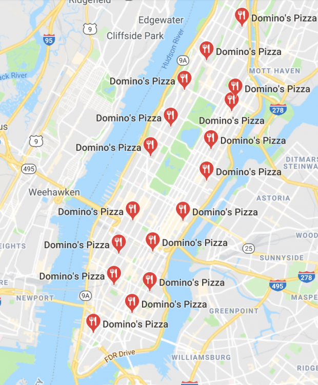 Domino's NYC Map